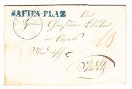 Heimat GR ST SAFIEN-PLAZ Balkenstempel Blau Auf Brief 11.8.1855 Thusis - Svizzera