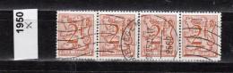 Belgien Mi.Nr. 1950 X Neue Löwenzeichnung   / 4-fach  /  O  Gestempelt - Unclassified