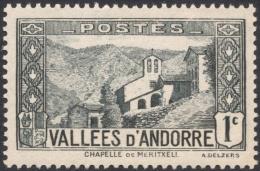 Andorra, 1 C. 1932, Sc # 23, Mi # 24, MH. - Andorre Français