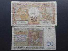 Belgium 20 & 50 Francs 1956 (Lot Of 2 Banknotes) - Unclassified