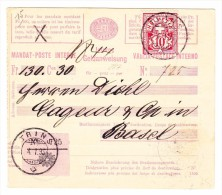 Heimat GR TRINS 4.1.1895 Mit 10Rp. WZ Auf Geldanweisung Beleg Nach Basel - 1882-1906 Armoiries, Helvetia Debout & UPU