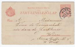 Hungary Postal Stationery Lettercard Zart-Levelezo-Lap Travelled 1909 Also-Kubin (Dolny Kubin) To Wien Bb151217 - Enteros Postales