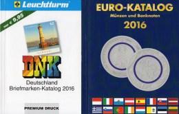 Deutschland Briefmarken/Münz-Katalog 2016 Neu 20€ Stamps DR Reich Saar Memel Danzig SBZ DDR Berlin AM BRD+coin Of EUROPA - Old Paper