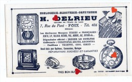 ZE-Buvard.-Horlogerie-Bijouterie-Orféverie-H.DELRIEU-FOIX(ecriture Noire Fond Blanc) - Buvards, Protège-cahiers Illustrés