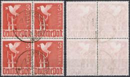 All.Bes. 1947, MiNr. 931, 3 Mark Taube Im Viererblock, Gest. LINTFORT (KR. MOERS), Gepr. Hohmann BPP, Mi 100,-- - Zone AAS