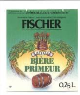 étiquettes De  Bière Primeur  -   Fischer  -  Brasserie Du Pêcheur à  Schiltgheim  (67) - Cerveza