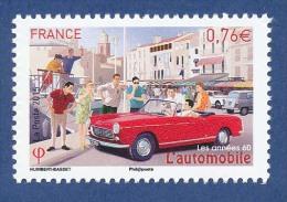 FRANCE Cabriolet Grand Luxe 204 Peugeot Neuf**. L´automobile, Années 60. 4L Renault (en Arrière Plan) - Cars