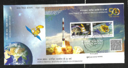 INDIA, 2015, FDC, Joint Issue With France, Set 2v, 50 Years Space Programme, Satellite, MINIATURE Sheet,, Mumbai Cancld - FDC