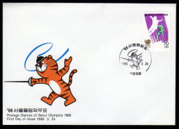 South Korea Olympics Seoul 1988 Fdc Cover With FENCING. - Verano 1988: Seúl