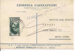 LAVORO L.10,ISOLATO SU CARTOLINA CEDOLA LIBRARIA,1951,TIMBRO POSTE NAPOLI, ASCOLI PICENO, - 6. 1946-.. Republik