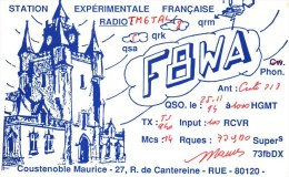 Carte QSL - Radio-Amateur  -    France  -    F 8WA       RUE   80 - Radio Amateur