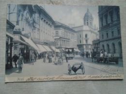 Romania Hungary   ARAD - Atzél Péter Utcza  - Hotel A Fehér Kereszthez -Theater  - Tram Street Scene  Ca 1900 D134868 - Romania
