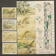 Dinosaures Dinosaurs Dinosaurios Dinosauri **MNH  Angola 930/33 + BF 17 - Stamps