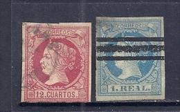 Espagne YT 49, 51 Oblitérés. - 1850-68 Reino: Isabel II