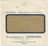 EMA SUR LETTRE A EN TETE DE VILLEFRANCHE SUR SAONE DU 22/10/1937 - Marcofilie (Brieven)