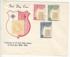 Malta: Centenary Of First Malta Stamp, FDC, 1 December 1960 - Malta (...-1964)