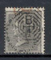 INDIA, 1856 4As Black Superb Used, Cat £10 - 1882-1901 Empire