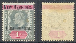 NEW HEBRIDES, 1908 1/- Green & Red Wmk Single Crown CA Superb MM, SG9, Cat £140