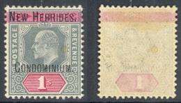 NEW HEBRIDES, 1908 1/- Green & Red Wmk Single Crown CA Superb MM, SG9, Cat £140 - Engelse Legende