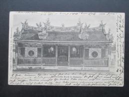 AK 1904 Niederländisch Indien. Chineesche Kerk Te Batavia. Boekhandel Visser & Co.Nach Born (Pommern) Interessante Karte - Nederlands-Indië