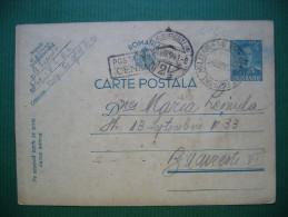 Romania WW II. Postal Stationery Entier Ganzsache King Michael 4 Lei 2x Military Censored To Bucuresti 23.8.1941 - Enteros Postales