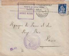 1913 LETTRE SUISSE. BÂLE  POUR FRANCE. CENSURE + R.G.  / 7186 - Schweiz