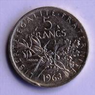 5F TYPE SEMEUSE ARGENT 1963 - J. 5 Francs