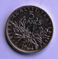 5F TYPE SEMEUSE ARGENT 1964 - J. 5 Francs