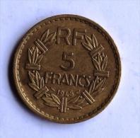 5 F LAVRILLIER Bronze 1945 - J. 5 Francs