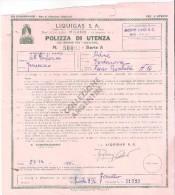 POLIZZA UTENZA Bidone Liquigas A Uso Fornello - Pordenone 27 Dicembre 1955 - Fatture & Documenti Commerciali