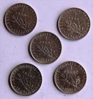Lot De 5 Pièces De 1F TYPE SEMEUSE - H. 1 Franc