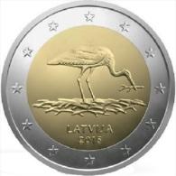 LATVIA 2 EURO Commemorative 2015 - Black Stork - UNC From The Roll - Lettonia