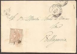 1868 - CARTA CIRCULADA A VILLAGARCIA DE AROSA - 1868-70 Gobierno Provisional