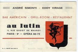PARIS 9  OPERA  AU LUTIN BAR AMERICAIN GRILL ROOM RESTAURANT  ANDRE SIMONYI EDDY VIRAGE - Etiketten Van Hotels