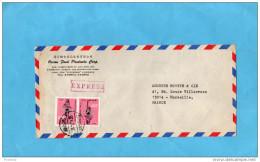 MARCOPHILIE-CHINE -TAIWAN--lettreEXPRESS-pour Françe -1974 2stamps N°952-Sports-course à Pied-JO - 1945-... République De Chine