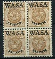"""SUEDE ( POSTE ) : Y&T N° 74A EN  BLOC  DE  4  SURCHARGE """"WASA""""??   TIMBRES NEUFS  SANS  TRACE  DE CHARNIERE  , A  VO - Suède"""