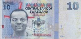 BILLETE DE SWAZILAND DE 10 EMALANGENI DEL AÑO 2010   (BANKNOTE) - Swaziland