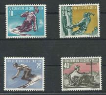 Liechtenstein, Mi 334-37 Jaar 1955, Sport, Reeks, Postfris Zonder Scharnier (MNH**) Cote 65,00 Euro à 18 %, Zie Scan - Liechtenstein