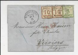 Alsace, 1871 , 25 Cent. Affranchisem. Pour La Belgique , Verviers  , Rare ! # 4314 - Alsace Lorraine