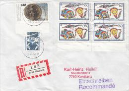 33771- FRANKFURT FAIR, AIRPORT, PLANE, KITES, STAMPS ON REGISTERED COVER, 1990, GERMANY - Storia Postale