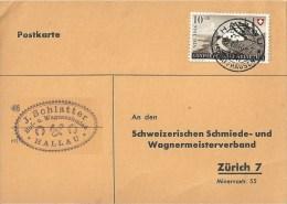 """Motiv Karte  """"Schlatter, Huf- Und Wagenschmied, Hallau""""           1946 - Svizzera"""