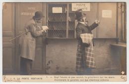 La Poste Restante, Sept Heures Et Pas Ouvert, Le Grincheux Sur Les Dents..  Carte Humoristique (pk28466) - Poste & Facteurs