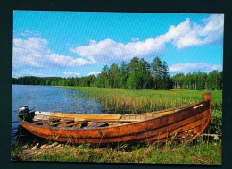 FINLAND  -  Lakeside View With Boat  Used Postcard As Scans - Finland