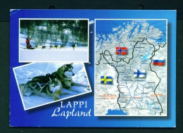FINLAND  -  Lappland  Map And Dual View  Used Postcard As Scans - Finland