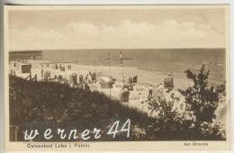 Ostseebad Leba 1928 Am Strande Mit Badehaus (18234) - Pommern