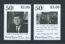 Penrhyn Island 2013 Kennedy JFK Anniversary Set 2 MNH - Penrhyn