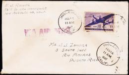 1947. 10 C. AIR MAIL INGLEWOOD FEB 14 1947. To PUERTO RICO.  (Michel: USA 502) - JF177464 - Briefmarken
