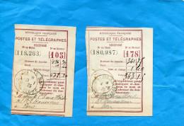 2-Récépissés -Postes Et-télégraphe-cad PARIS 32-juin 25+  Paris 26 Aout 1932+ja 83- Sept 25- - Marcophilie (Lettres)