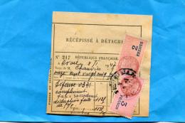 Récépissé -Postes Et-télégraphe-cad 1947*acquitté Timbres Fiscaux 2+3 Francs Cad Défense - Marcophilie (Lettres)