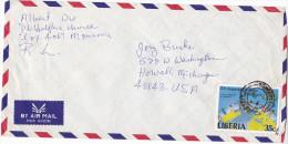 LIBERIA Air Mail  COVER Stamps 35c ROTARY INTERNATIONAL ANNIV  To USA  Rotary Club - Liberia